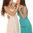 Two women dresses kissy face — Stock Photo