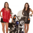 Two women motorcycle stand by smile — Stock Photo