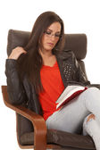 Shirt black jacket sit read serious — Stock Photo