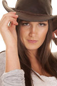 Woman western hat close touch — Stock Photo