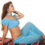 Woman on blanket in blue hair blow look side — Foto Stock