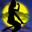 Silhouette of witch on broom  — Stock Photo
