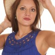 Woman blue dress western hat close — Stock Photo