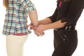 Woman cop handcuff woman close hands — Stock Photo
