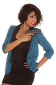 Hispanic woman gun point back — Stock Photo