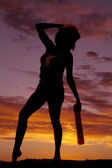 Silhouette woman hard hat look back — Stock Photo