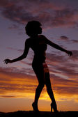 Silhouette woman side arm front and back — Stock Photo