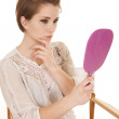 Woman chair touch face pink mirror — Foto de Stock