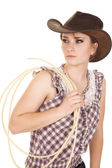 Woman hat rope plaid shirt look side — Stock Photo