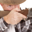 Cowboy chaps gun aim close — Stock Photo