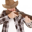 Cowboy chaps gun aiming — Stock Photo