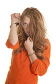 Woman inmate cuffs messed up hair sad — Stock Photo
