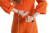 Woman take off handcuffs close — Stock Photo