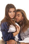 Couple forman blue dress his eyes closed — Stock Photo