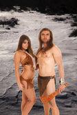 Neige graves de couple regard amérindien — Photo
