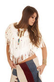 Native American woman white top look side — Stok fotoğraf
