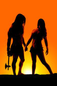 Silhouette hold hands indian — Stock Photo