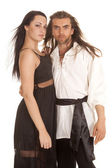 Couple long hair sash both look serious — Stock Photo