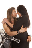 Couple motorcycle wear black touch noses — Stock Photo
