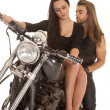 Woman in front of man on motorcycle barefoot — Stock Photo #37470005