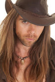 Cowboy long hair close serious — Stockfoto