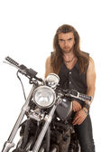 Man leather vest motorcycle look serious — Stok fotoğraf