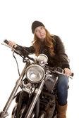 женщина черный кожаный мотоциклов yikes — Стоковое фото