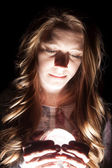 Woman crystal ball close light — Foto Stock