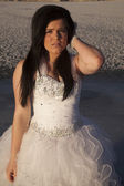Woman formal dress ice close serious — Stock Photo