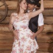 Couple western her in front eyes closed faces together — Stock Photo