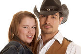 Couple close ehads cowboy hat looking — Stock Photo