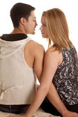 Couple sit back face each other serious — Stockfoto