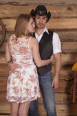 Couple western her back him look — Stock Photo