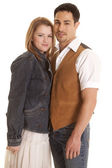 Couple western look both looking — Stock Photo