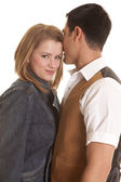 Couple western look face each other she look — Stock Photo