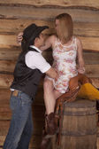Couple western woman on saddle look at each other — Stock Photo