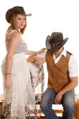 Cowboy couple him sit her stand — Stock Photo