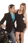 Couple sit side motorcycle she look — Stock Photo
