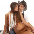 Cowboy man Indian woman her front almost kiss — Stock Photo