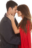 Woman red cape man coat almost kiss — Stock Photo