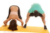 Couple fitness both stretch bend over forward — Foto de Stock