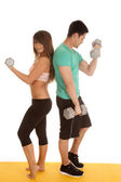 Fitness couple lace bra curls backs — Stock Photo