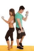 Sutiã de renda casal fitness cachos costas — Fotografia Stock