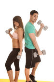 Fitness couple lace bra curls looking — Stock Photo