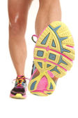 Bottom of woman shoe legs forward — 图库照片