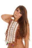 Native American woman hand shoulder beads serious — Stock Photo