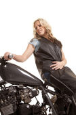 Woman leather motorcycle backwards low view — Stock Photo