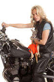 Woman with kangaroo sit on motorcycle looking — Stock Photo