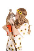 Woman sunflowers headband kiss kangaroo — Stockfoto