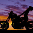 Silhouette woman motorcycle head way back — Stock Photo